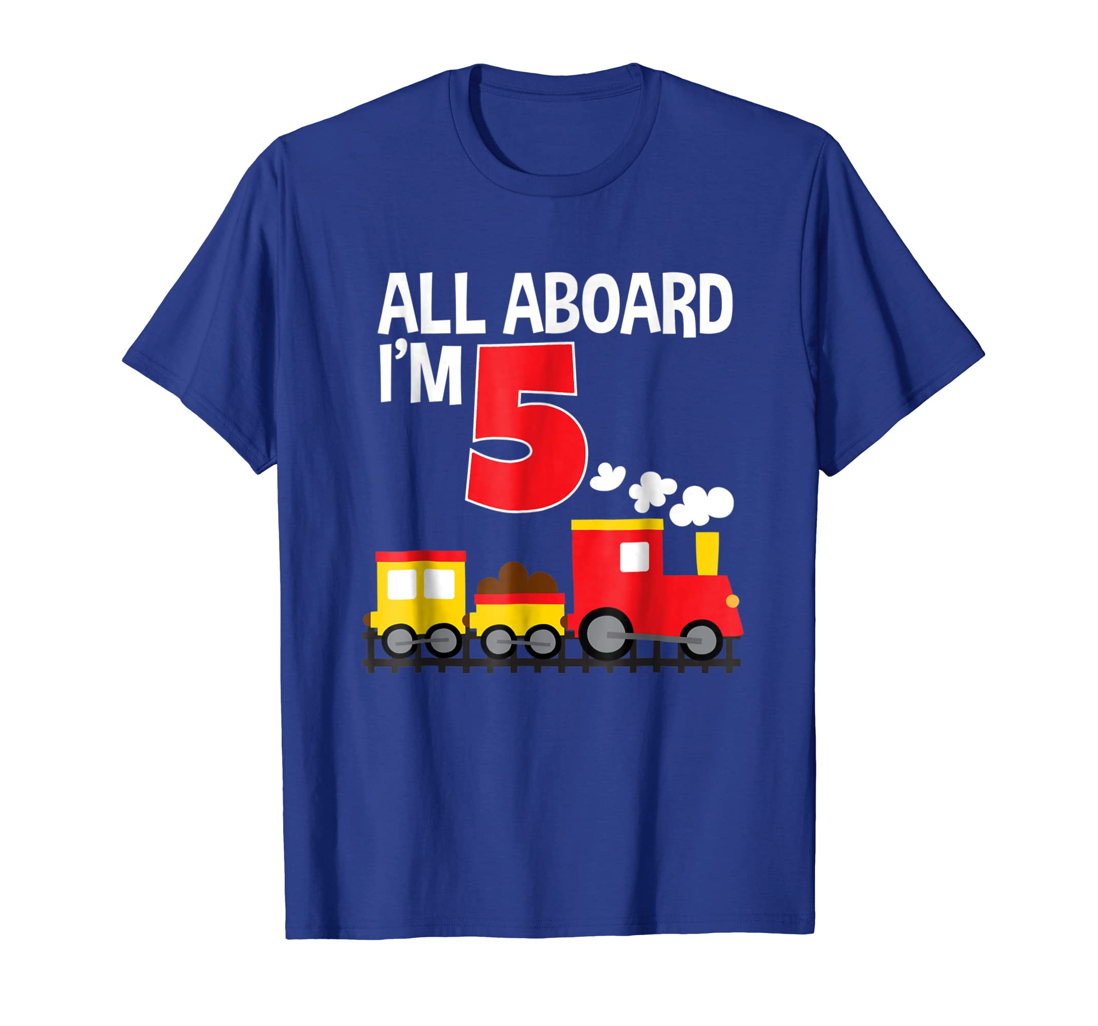All Aboard I'm 5 Train Birthday T-Shirt Toddler Boys Girls-mt