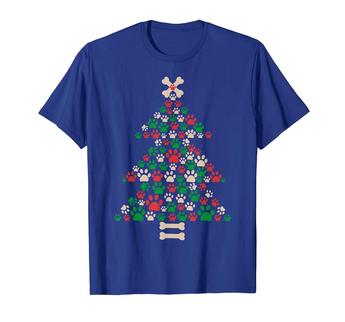 Christmas Tree Made Of Bones And Paw Prints Dog Lover T-Shirt-Men's T-Shirt-Royal