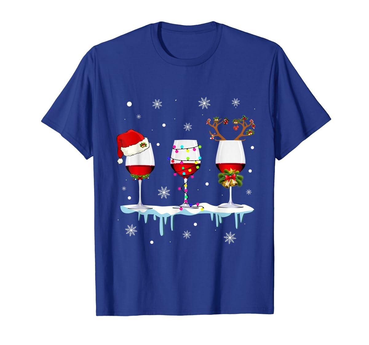 Three Glass of Red Wine Santa Hat Christmas T-Shirt-Men's T-Shirt-Royal