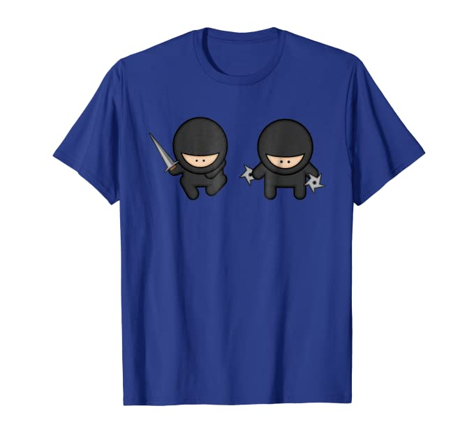Two Cute Ninja Cartoon Kids with Weapons graphic Tee Shirt