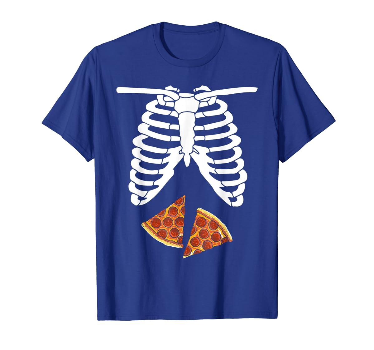 Halloween Skeleton Xray Pizza Slices Costume Rib Cage Easy T-Shirt-Men's T-Shirt-Royal
