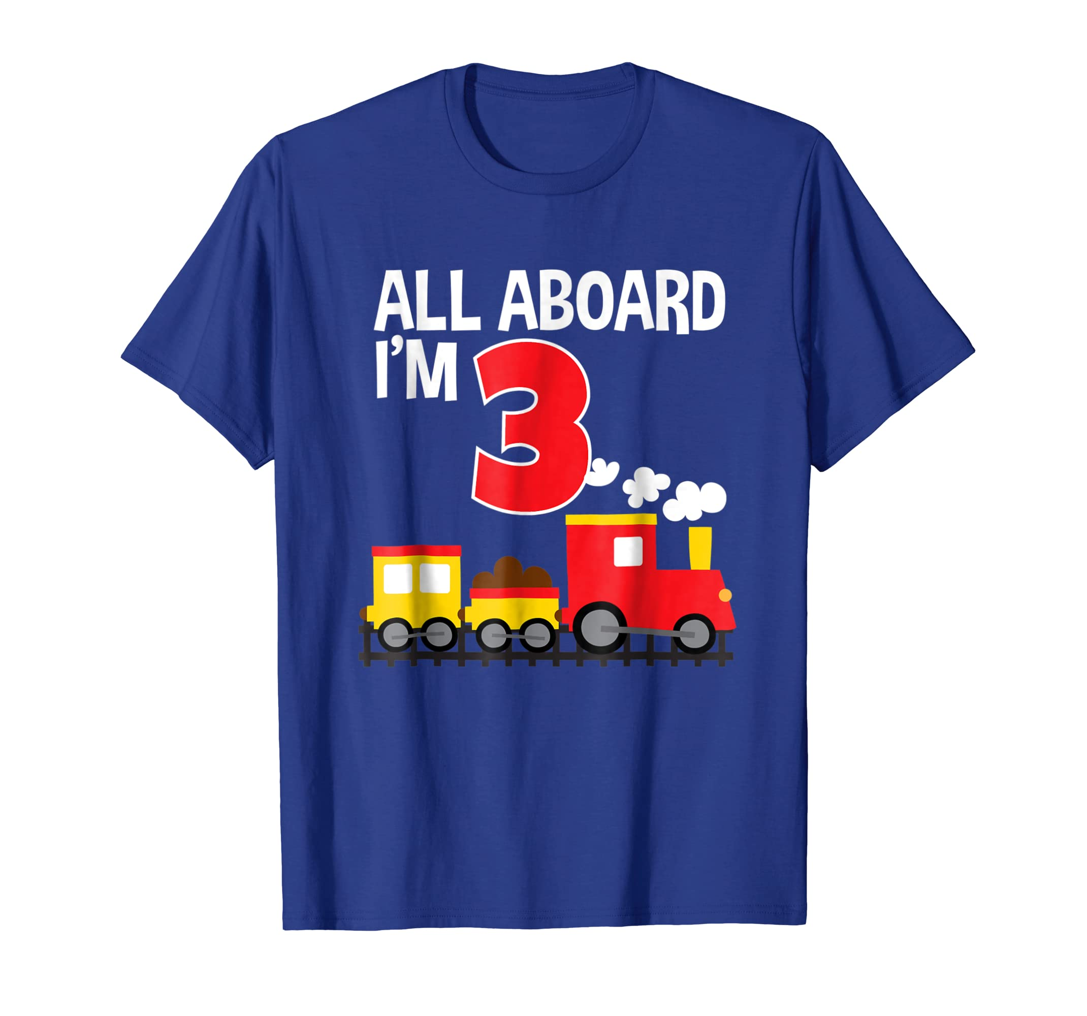 All Aboard I'm 3 Train Birthday T-Shirt Toddler Boys Girls-mt