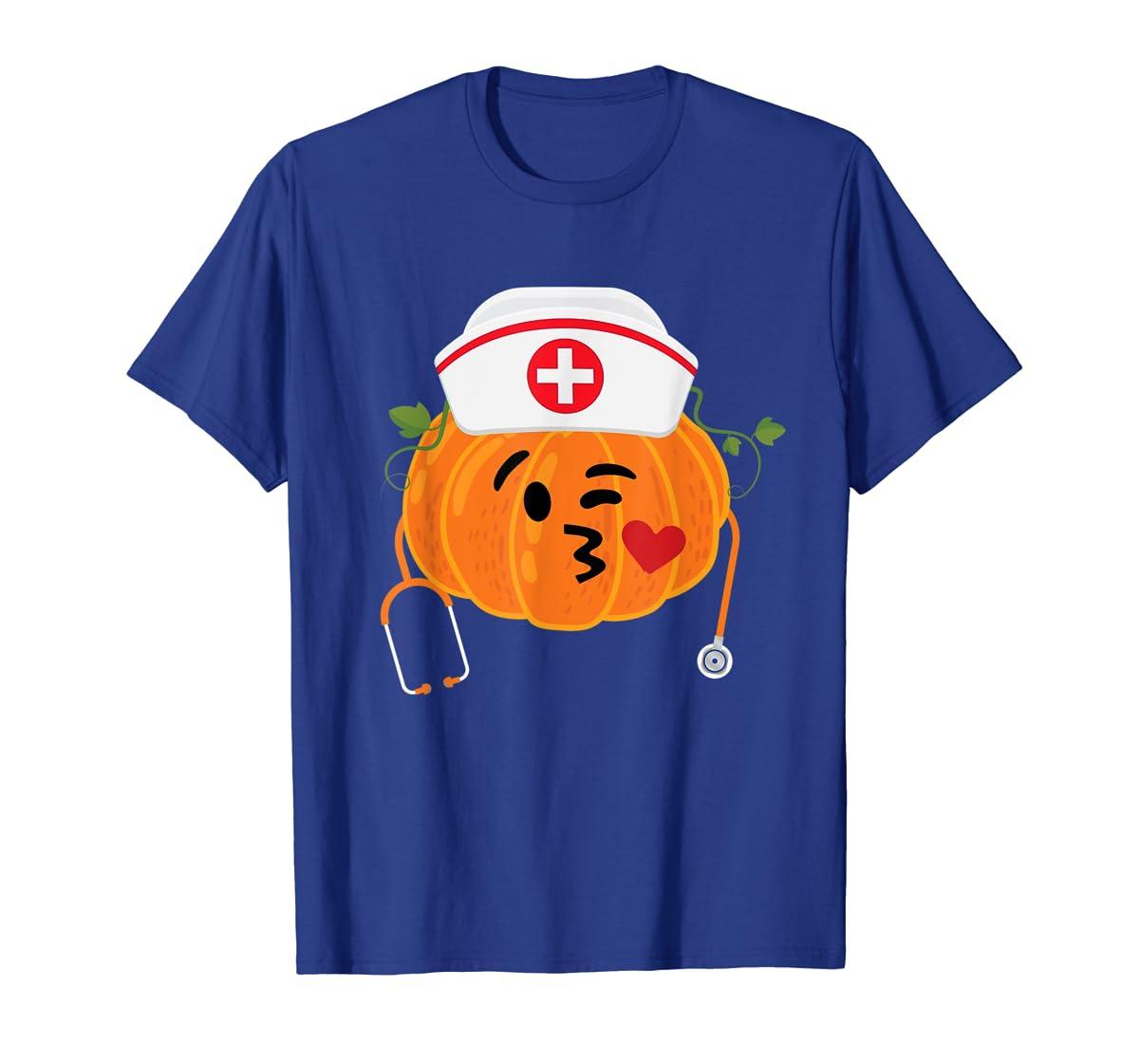 Nurse Stethoscope Pumpkin Funny Nursing Halloween Gift T-Shirt-Men's T-Shirt-Royal