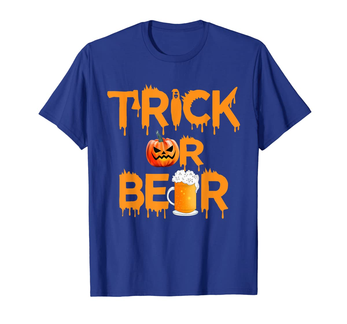 Halloween Costume Trick or Beer Drinking T Shirt Pumpkin Men T-Shirt-Men's T-Shirt-Royal