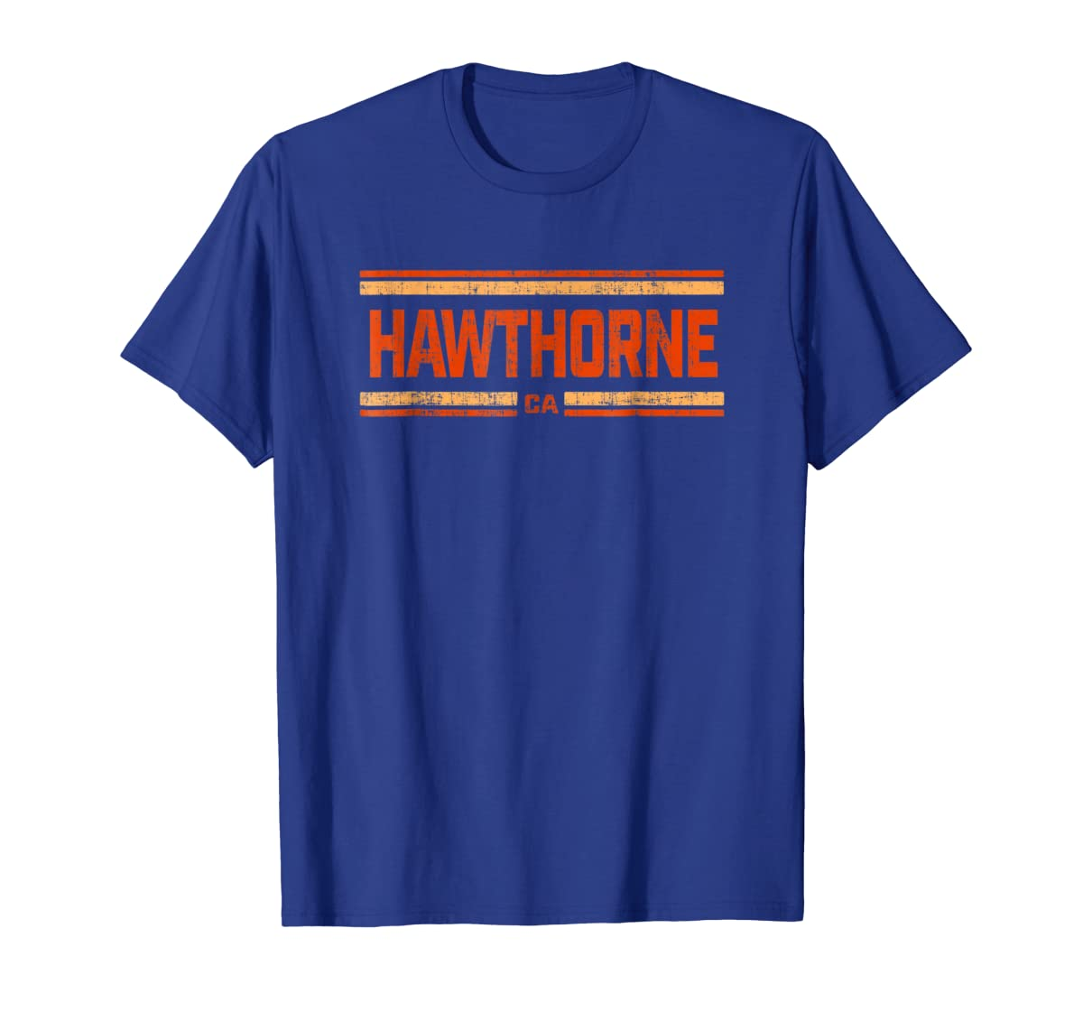 Retro Vintage Hawthorne CA Distressed T-Shirt-Men's T-Shirt-Royal