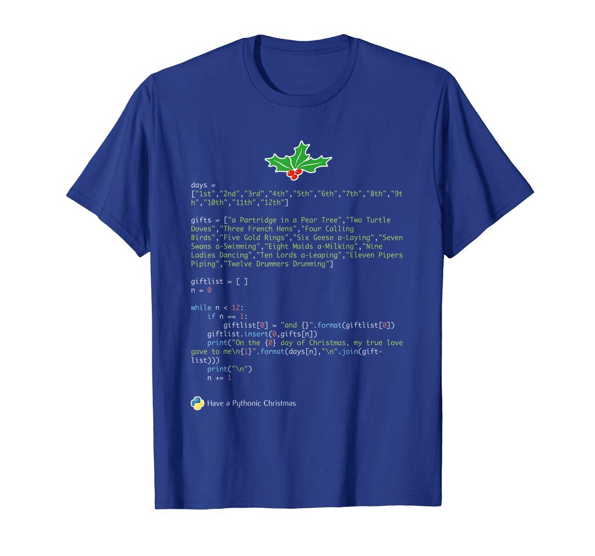 Geek Christmas Xmas - 12 Days of Python T-Shirt-Men's T-Shirt-Royal