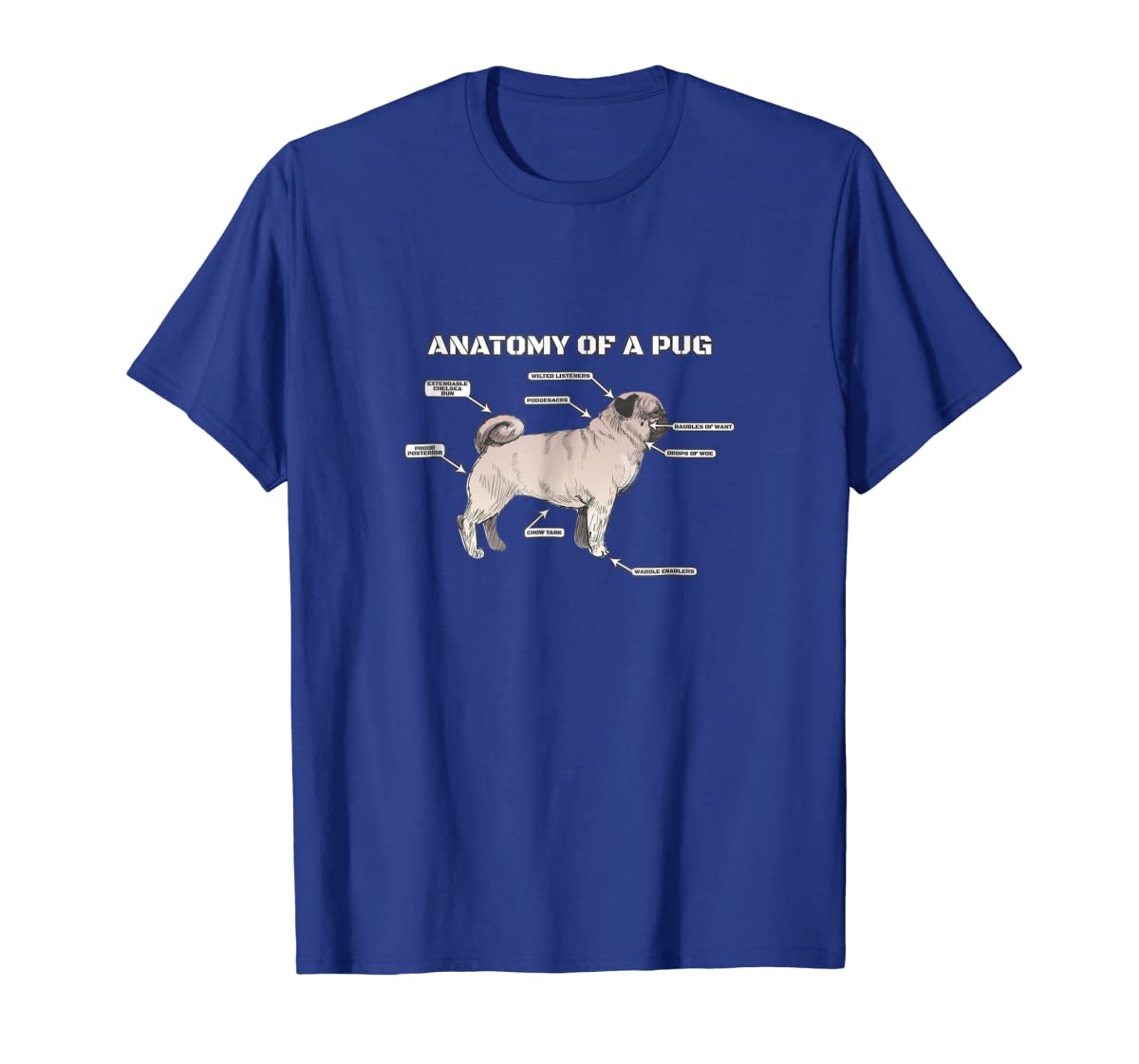 Cute Pug Anatomy T-Shirt - Funny Dog Puppy Tee-Men's T-Shirt-Royal