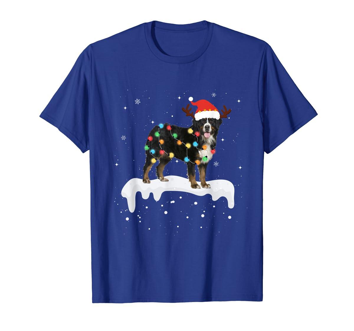 Bernese Mountain Christmas Lights Cute Dog Lover Gift T-Shirt-Men's T-Shirt-Royal