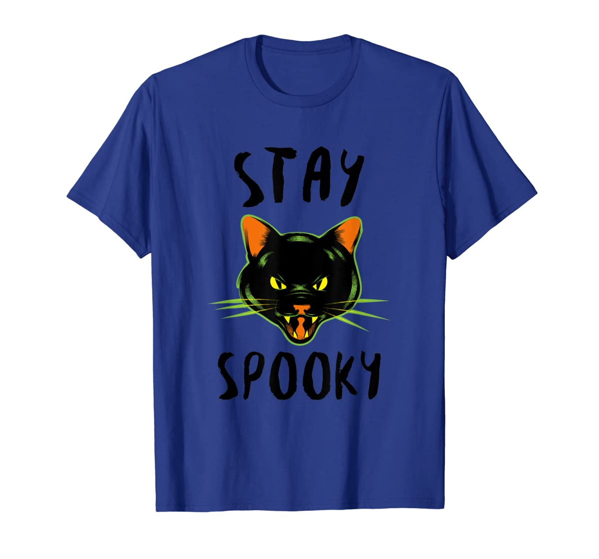 Stay Spooky | Scary Halloween Black Cat T-Shirt-Men's T-Shirt-Royal