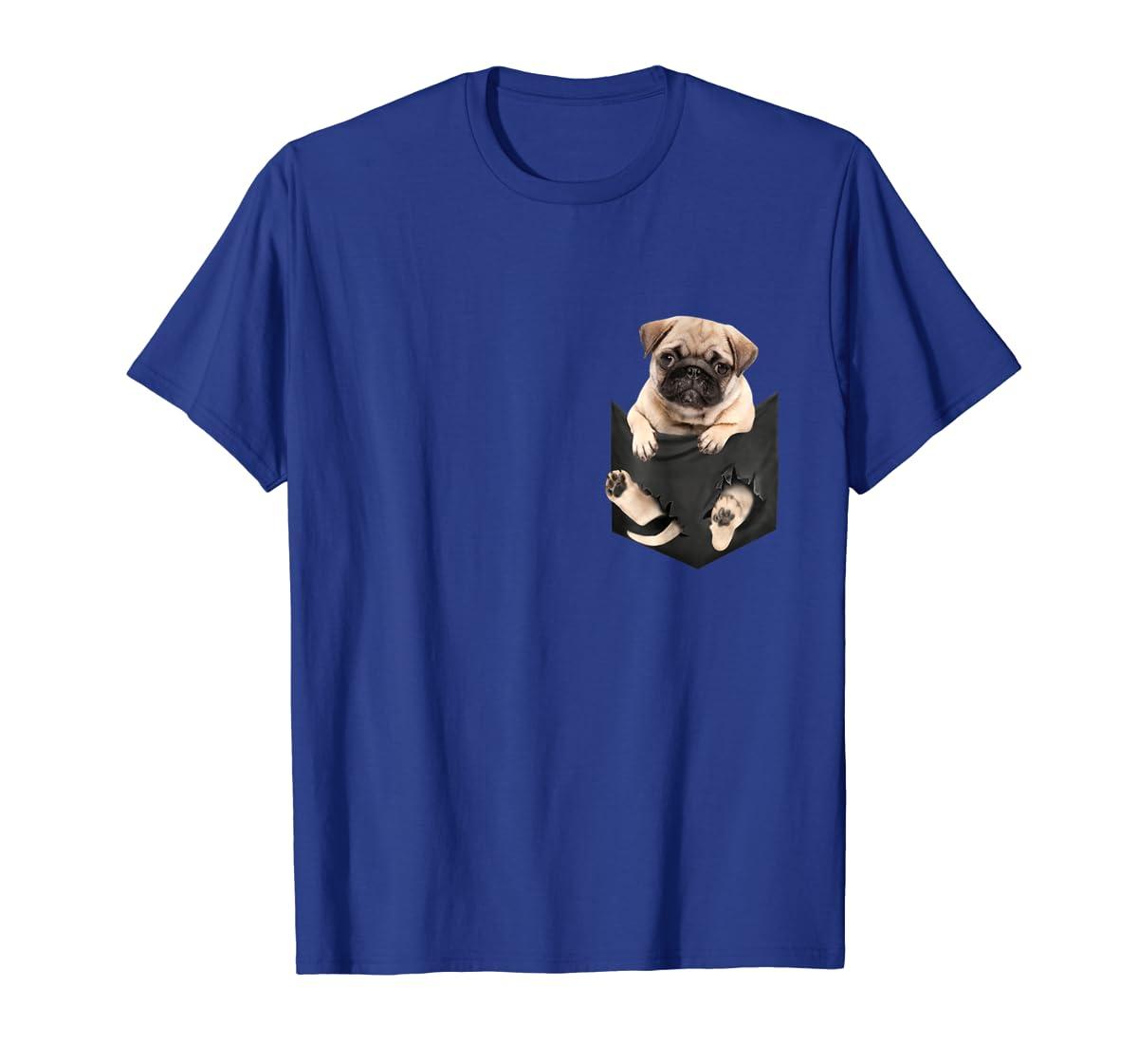 Dog in Your Pocket santa hat pug lover gift shirt-Men's T-Shirt-Royal