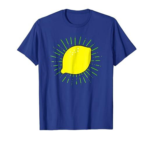80f34af5580 Amazon.com: Lemon Print Shirt on White, Yellow, Green & Blue T Shirt ...