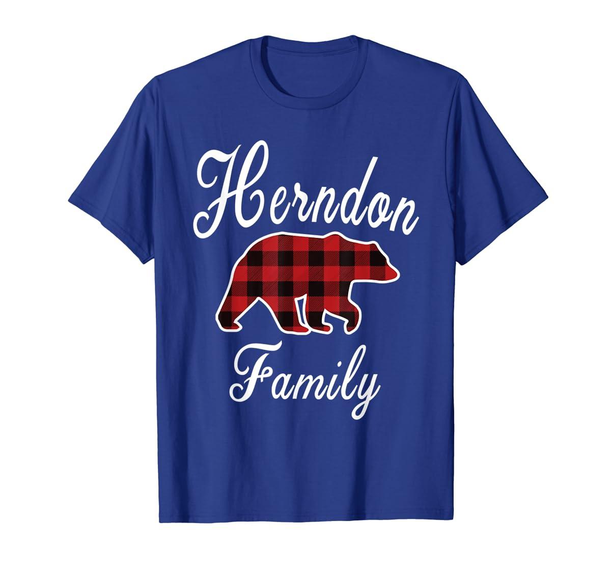 HERNDON Family Bear Red Plaid Christmas Pajama Gift T-Shirt-Men's T-Shirt-Royal