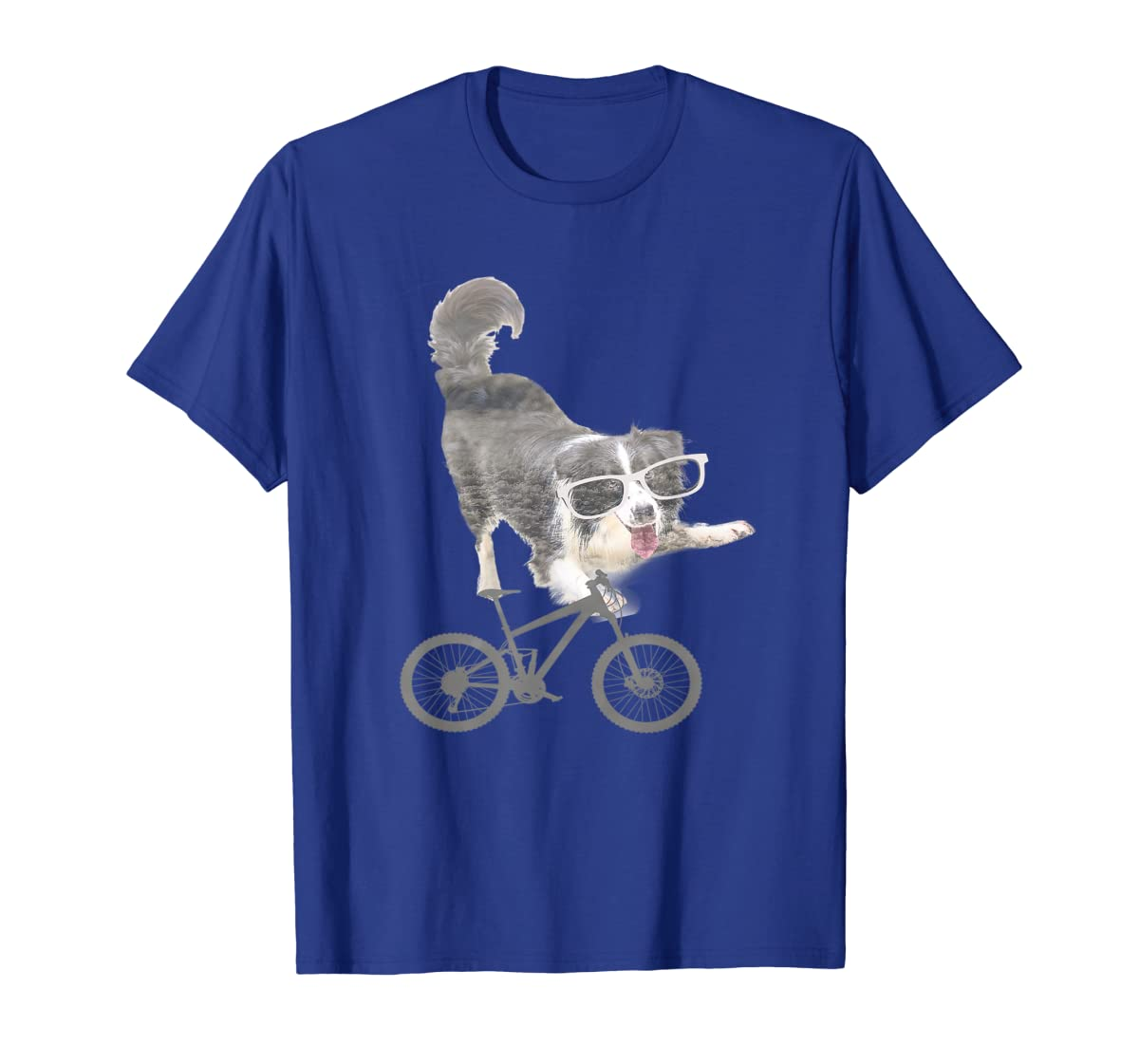 Border collie on a Bicycle T-shirt-Men's T-Shirt-Royal