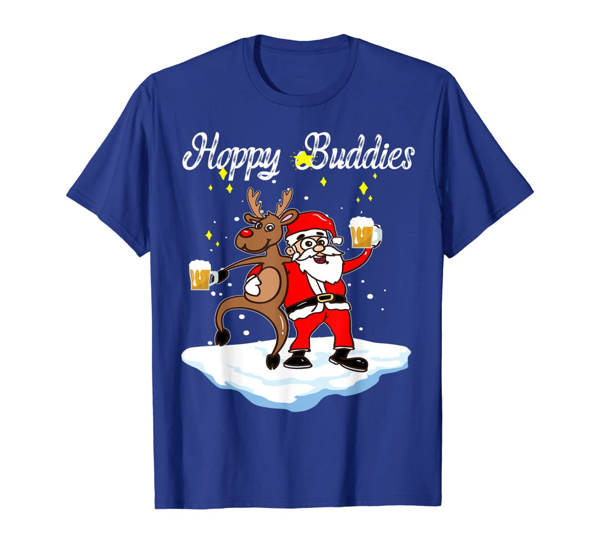 Santa Dancing Reindeer Beer Drinking T-Shirt Christmas Party T-Shirt-Men's T-Shirt-Royal