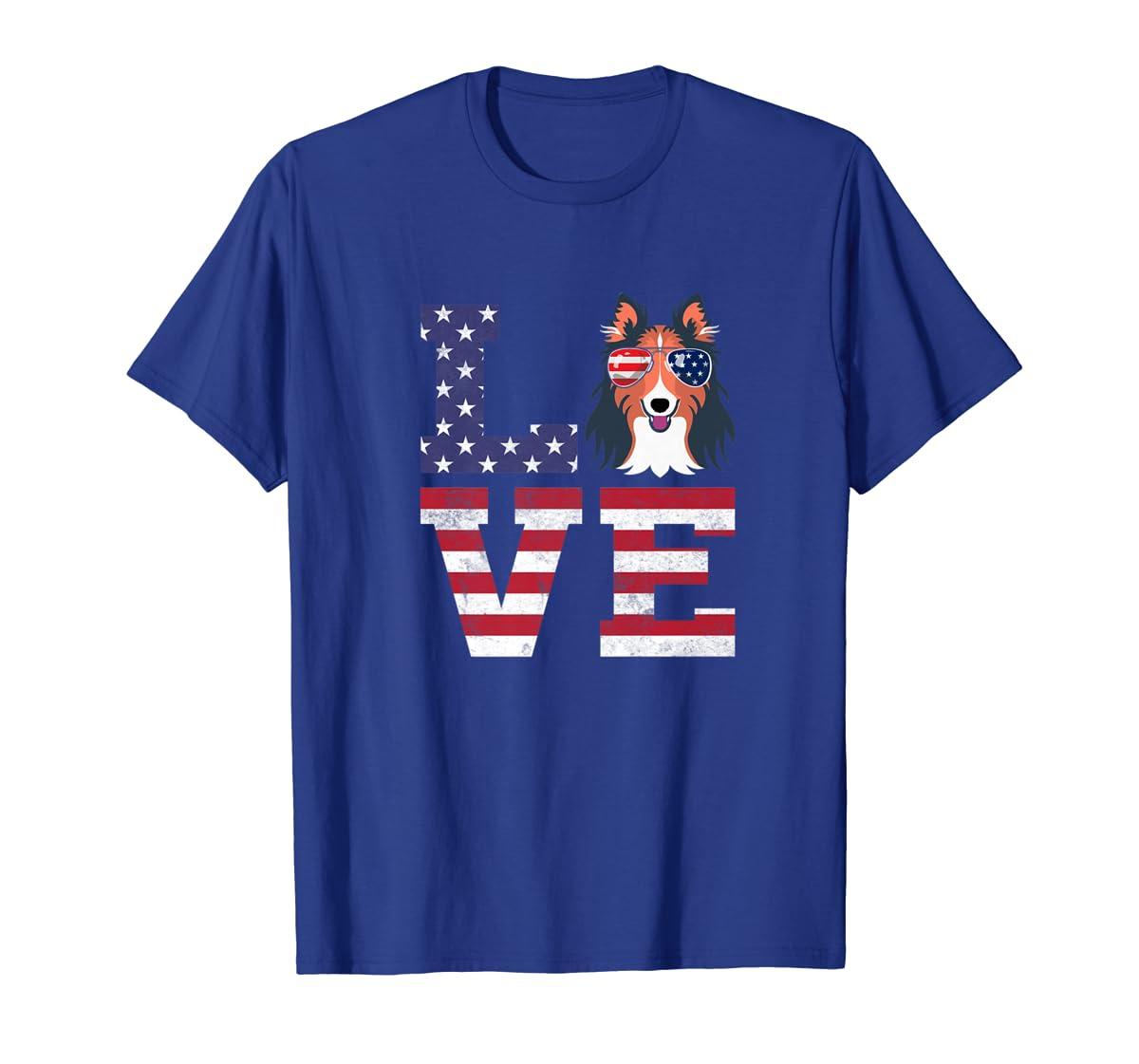 Love Rough Collie Dog American Flag 4th of july Shirt-Men's T-Shirt-Royal