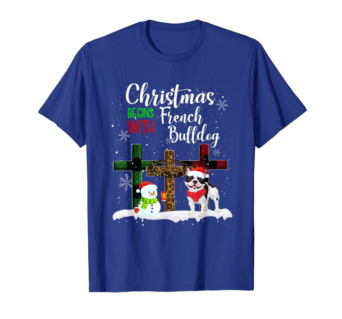 Christmas Begins With French Bulldog Costume Xmas Gifts T-Shirt-Men's T-Shirt-Royal
