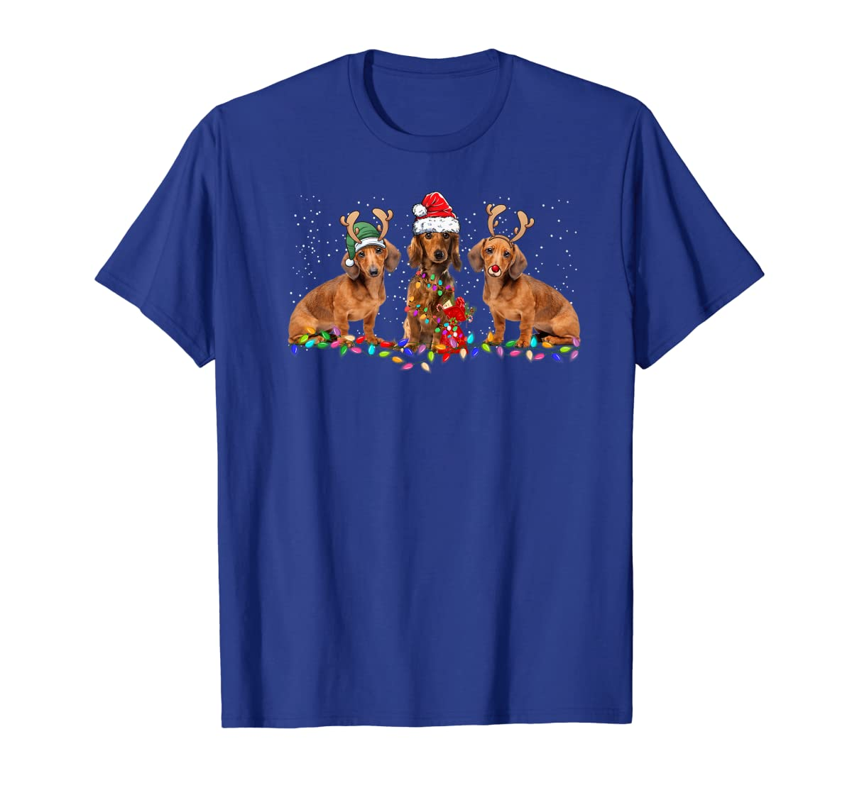Three Dachshund Dogs Christmas Santa Hat Lights Xmas Gift Premium T-Shirt-Men's T-Shirt-Royal