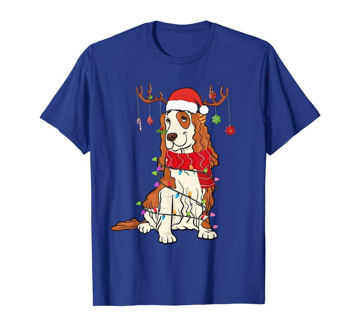 Funny Cocker Spaniel Christmas Reindeer Lights Xmas Dog T-Shirt-Men's T-Shirt-Royal