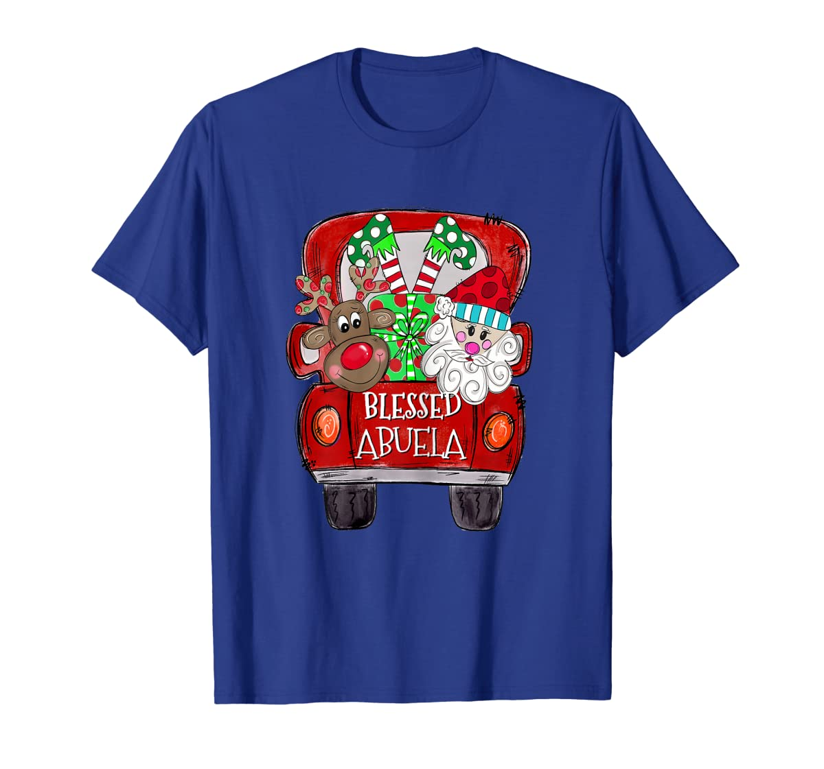 Womens Abuela Claus Cute Christmas Truck - Christmas Gift T-Shirt-Men's T-Shirt-Royal