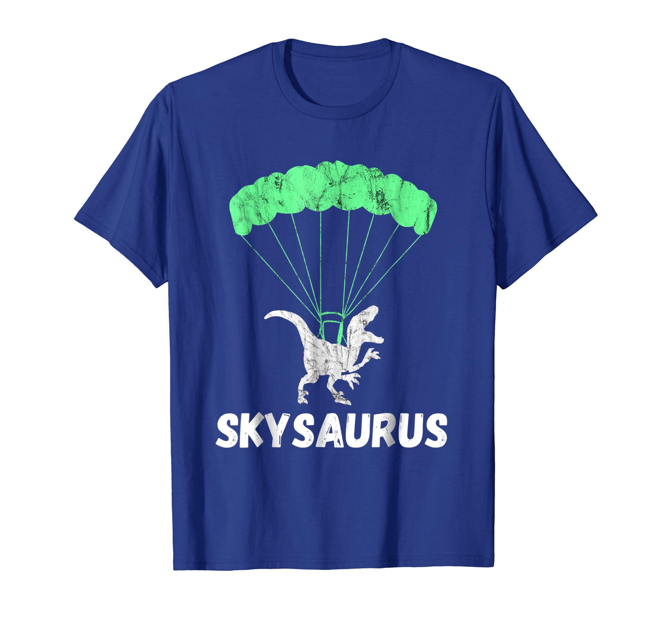 df2a6e91 Amazon.com: Skydiver Dinosaurs Skydiving Parachute Jumping Trex T-Shirt:  Clothing