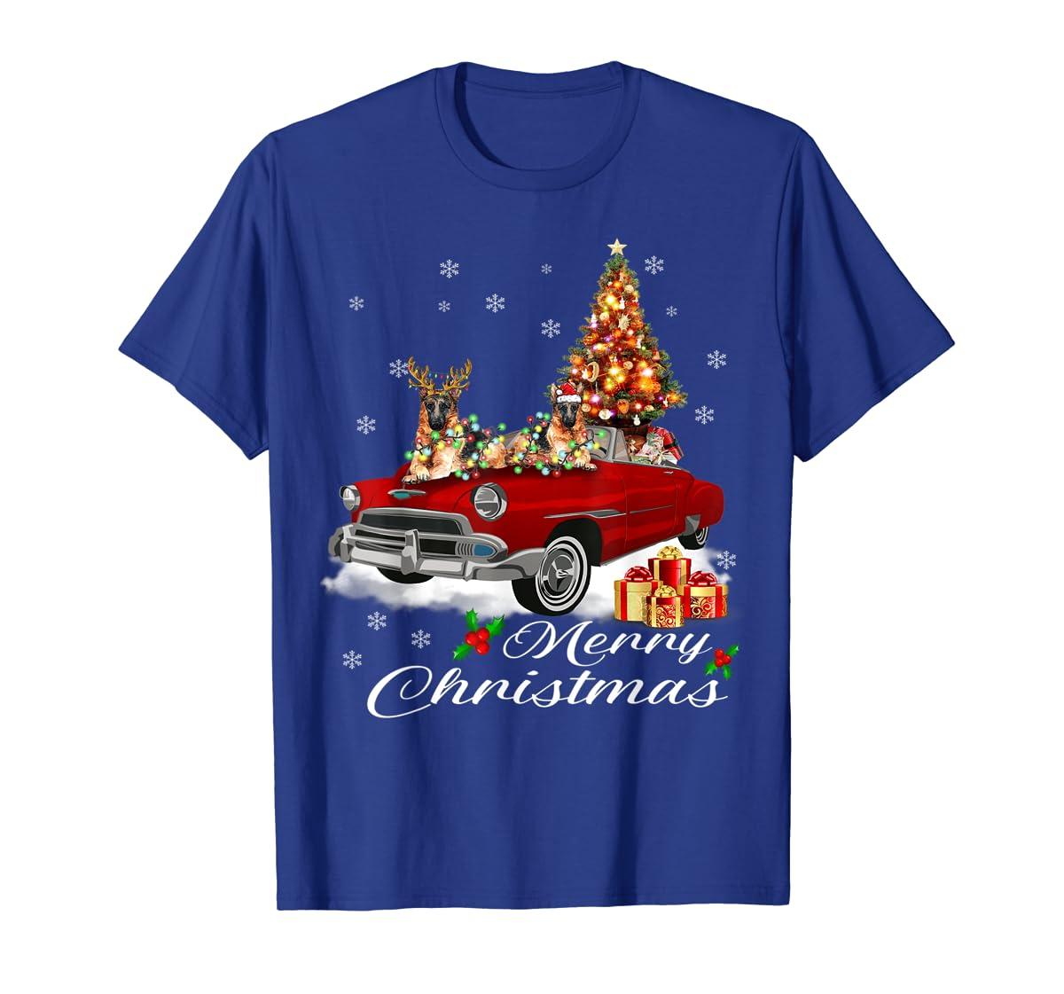German Shepherd on Red Truck Christmas Pajama Dog Lover Gift T-Shirt-Men's T-Shirt-Royal