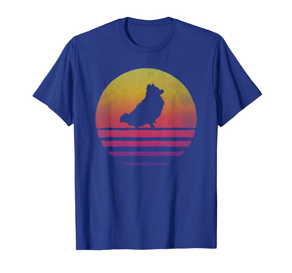 Retro Vintage Sunset Pomeranian Dog Lover Silhouette Gift T-Shirt-Men's T-Shirt-Royal