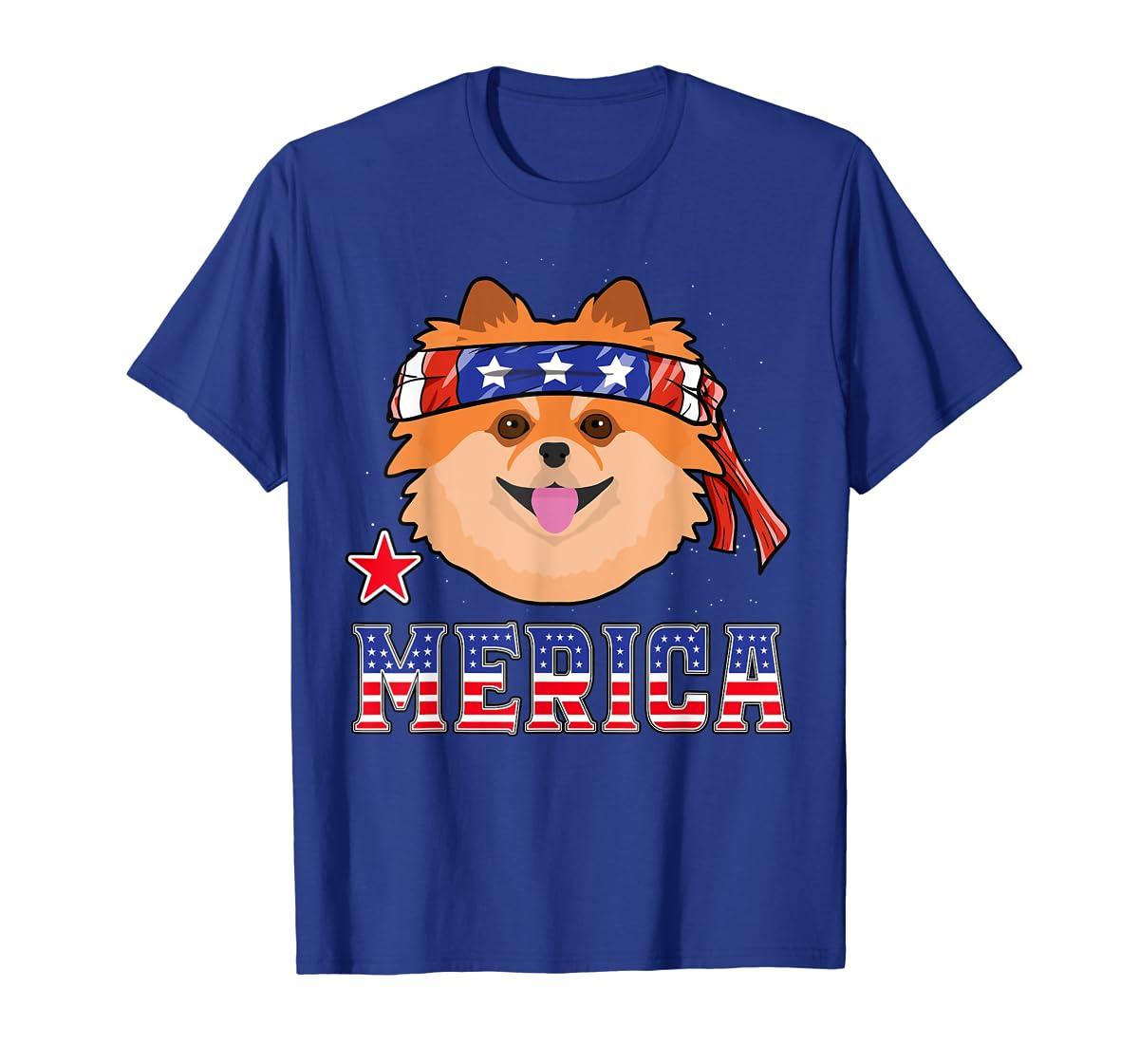 Pomeranian Dog Patriotic American 4th Of July Gift Dogs T-Shirt-Men's T-Shirt-Royal
