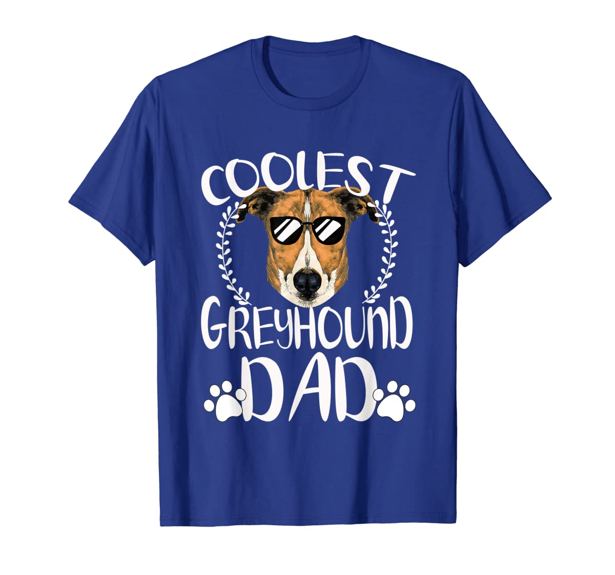 Glasses Coolest Greyhound Dog Dad T-Shirt Father's Day Gifts-Men's T-Shirt-Royal