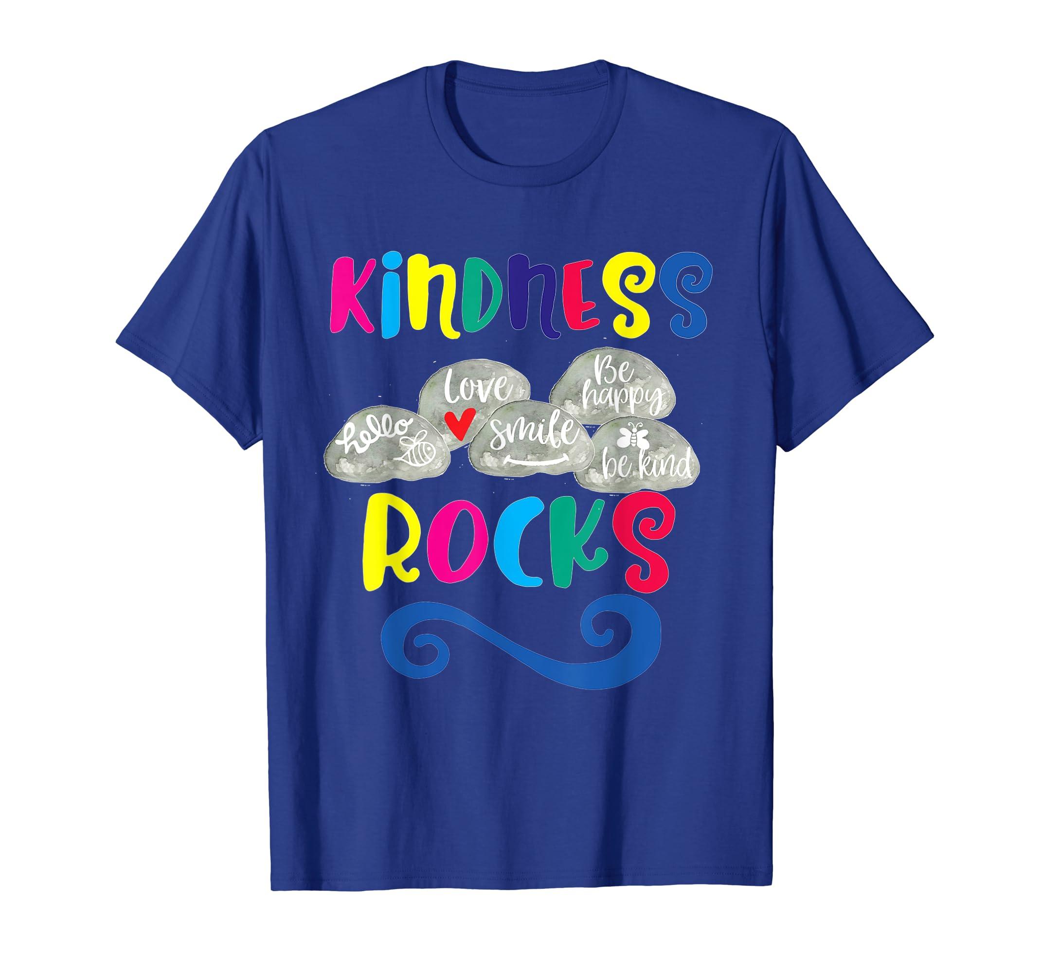 Kindness Rocks Kid TShirt Painted Rocks Multi Colour Letters-Teehay