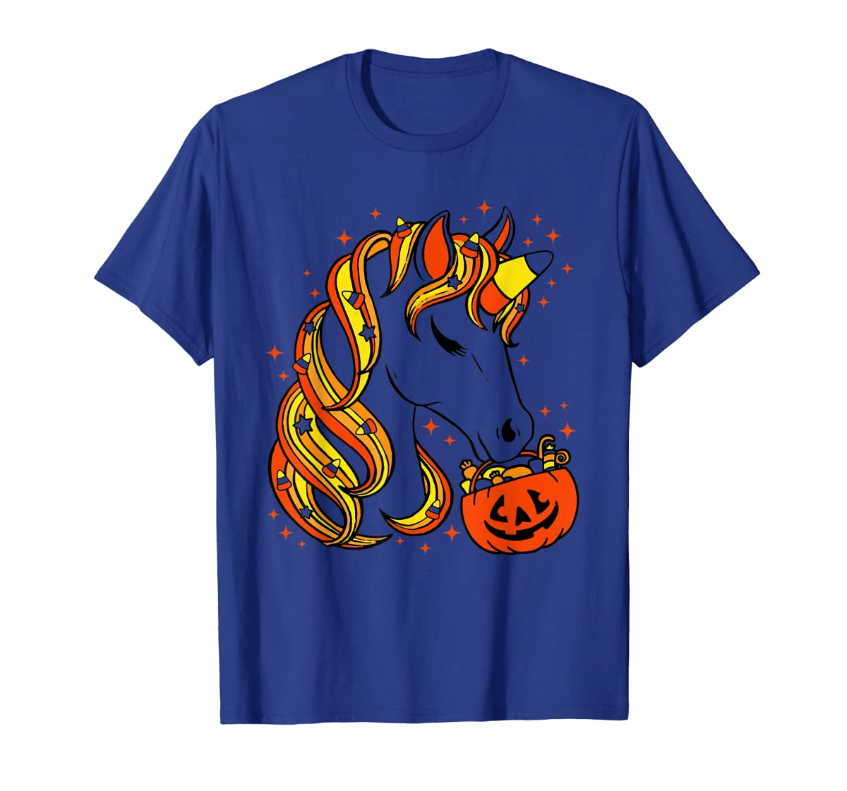 Cute Candy Corn Unicorn Halloween Top T-Shirt-Men's T-Shirt-Royal