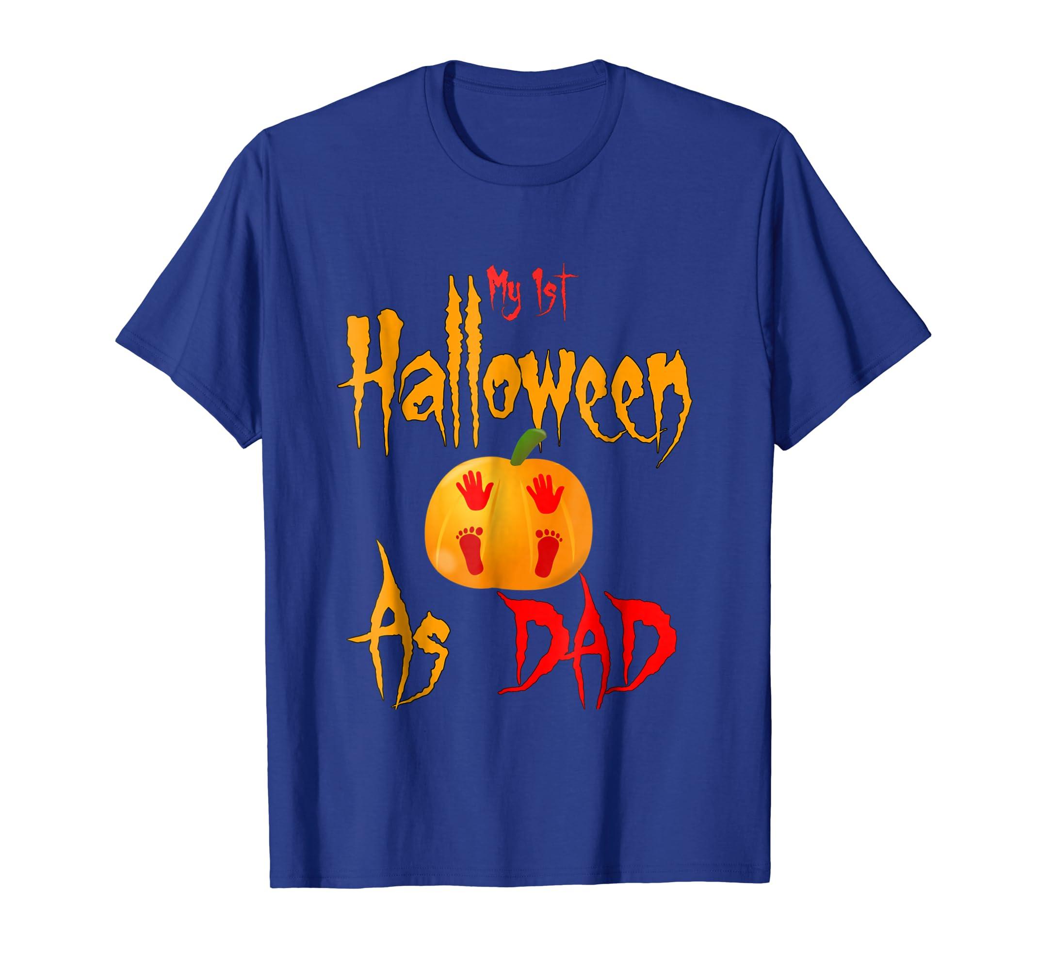 Mens My 1st Halloween As Dad Papa Gift New Daddy Pumpkin Shirt-Teechatpro