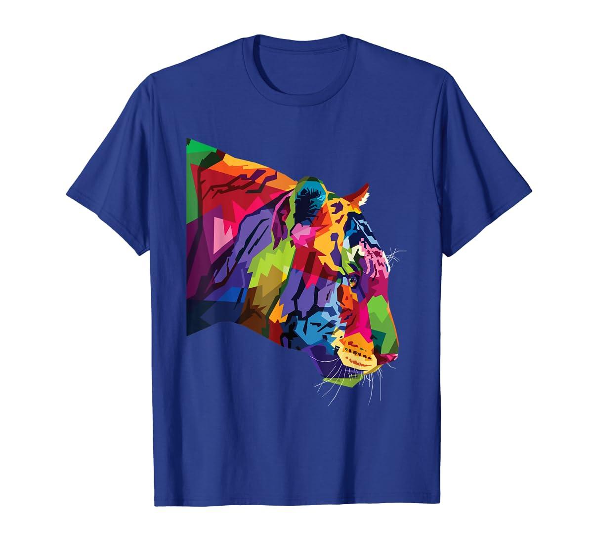 Tiger Shirt : Colorful Tiger's head Pop Art Style T-Shirt-Men's T-Shirt-Royal