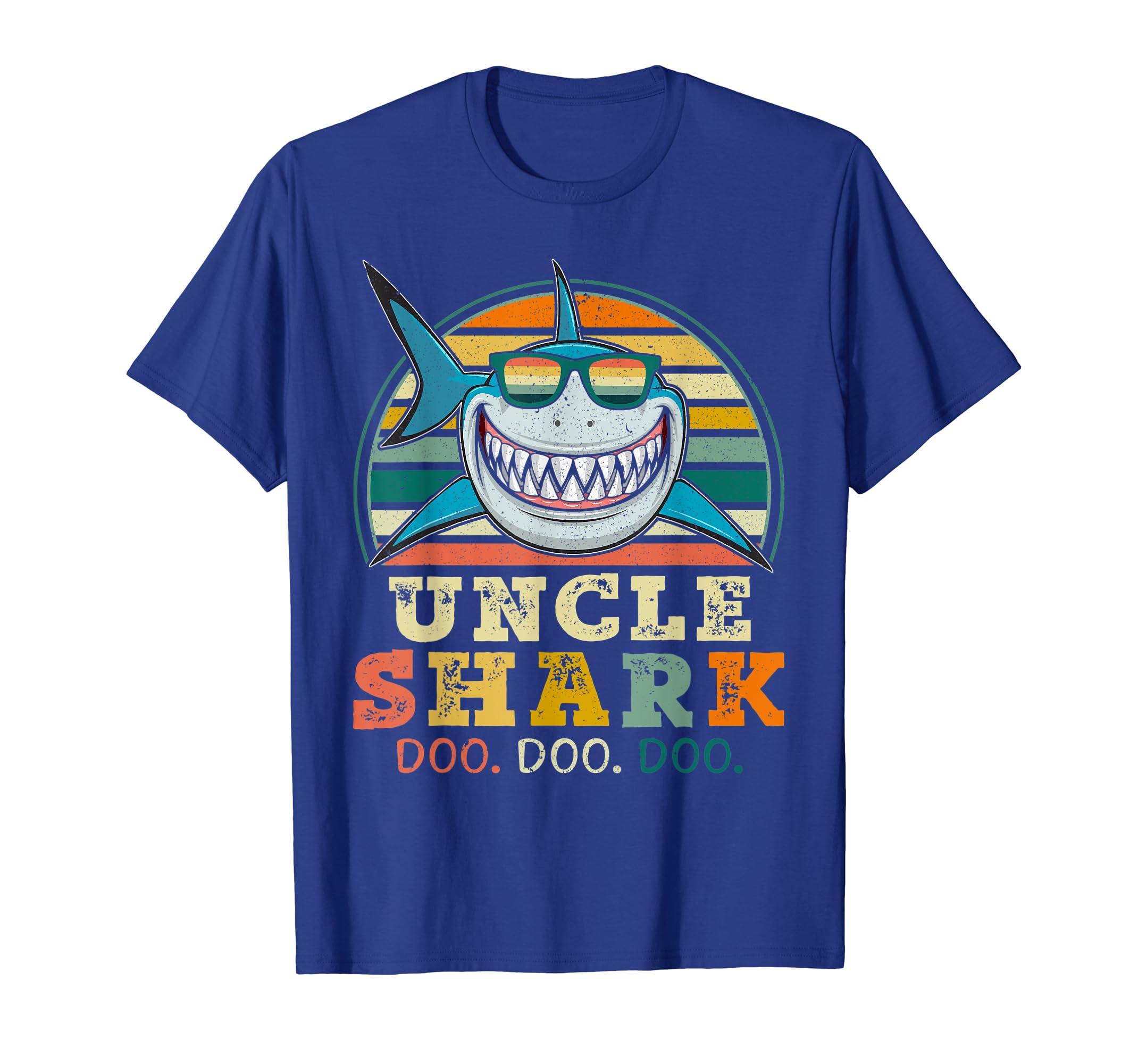 612c6900 Amazon.com: Retro Vintage Uncle Shark TShirt Funny Birthday Gifts Family:  Clothing