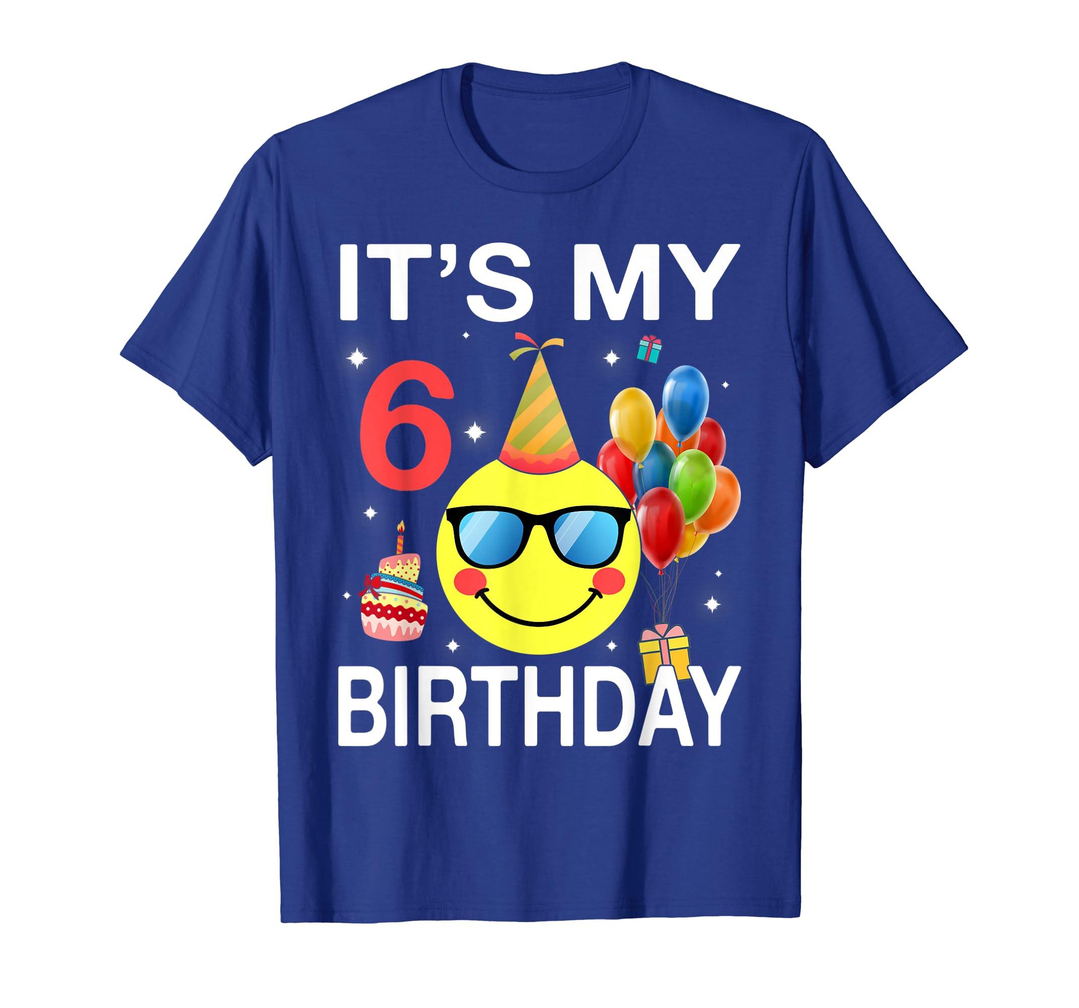 Kids Emoji It's My 6th Birthday T-Shirt Fun 6 Years Old Gift-Yolotee