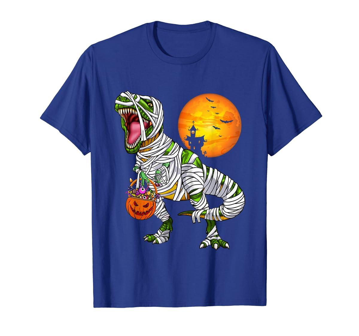 Halloween Gift For Boys Kids Dinosaur T rex Mummy Pumpkin T-Shirt-Men's T-Shirt-Royal