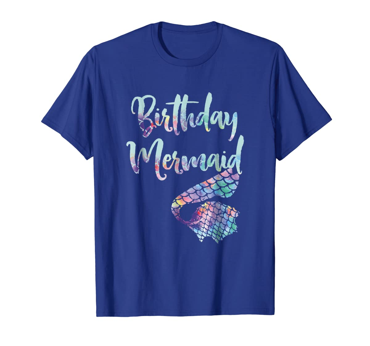 Birthday Mermaid Shirt-Men's T-Shirt-Royal