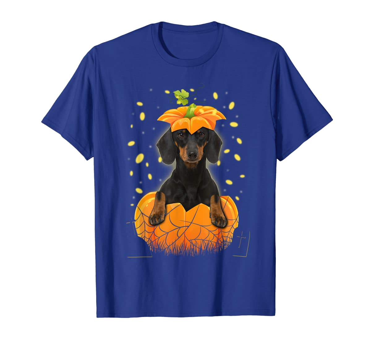 Happy Halloween Funny Dachshund Pumpkin T-Shirt-Men's T-Shirt-Royal