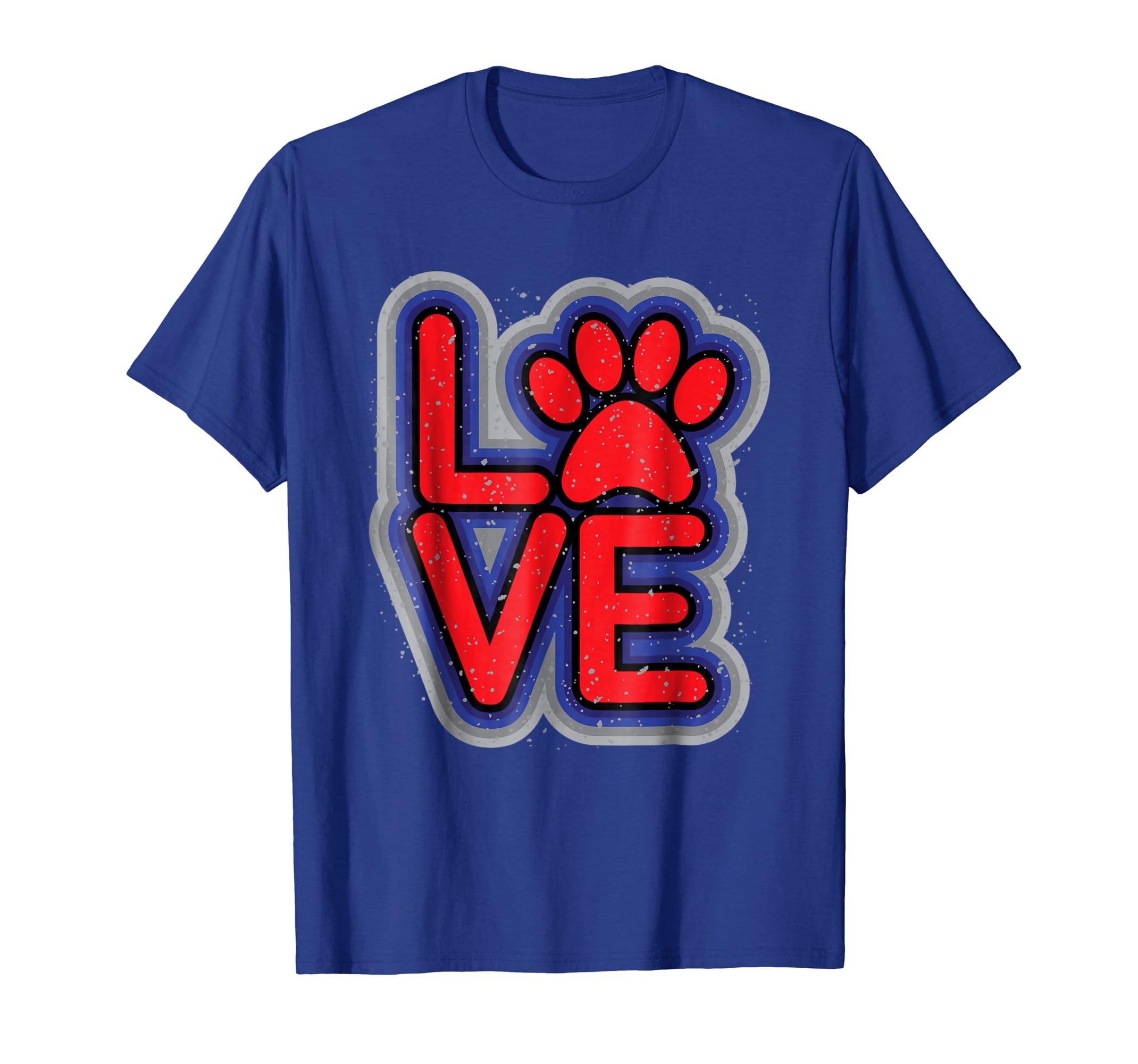 Amazon com: I LOVE My Pets Cat Dog Pet Paw Print Grunge