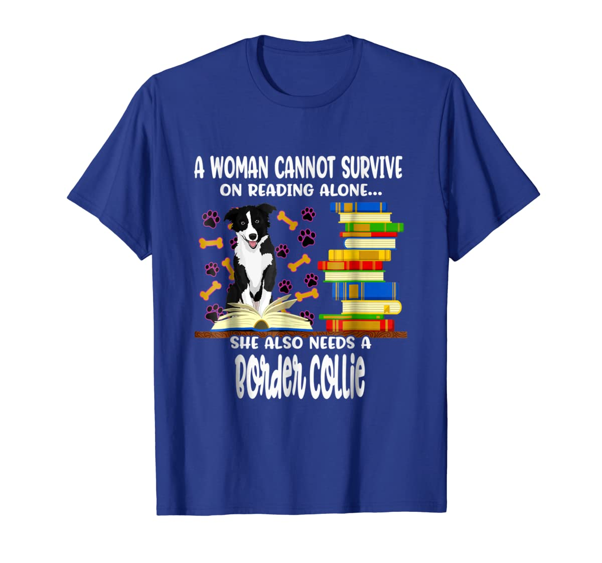 A Woman Reading Book Dog Border Collie Shirt-Men's T-Shirt-Royal
