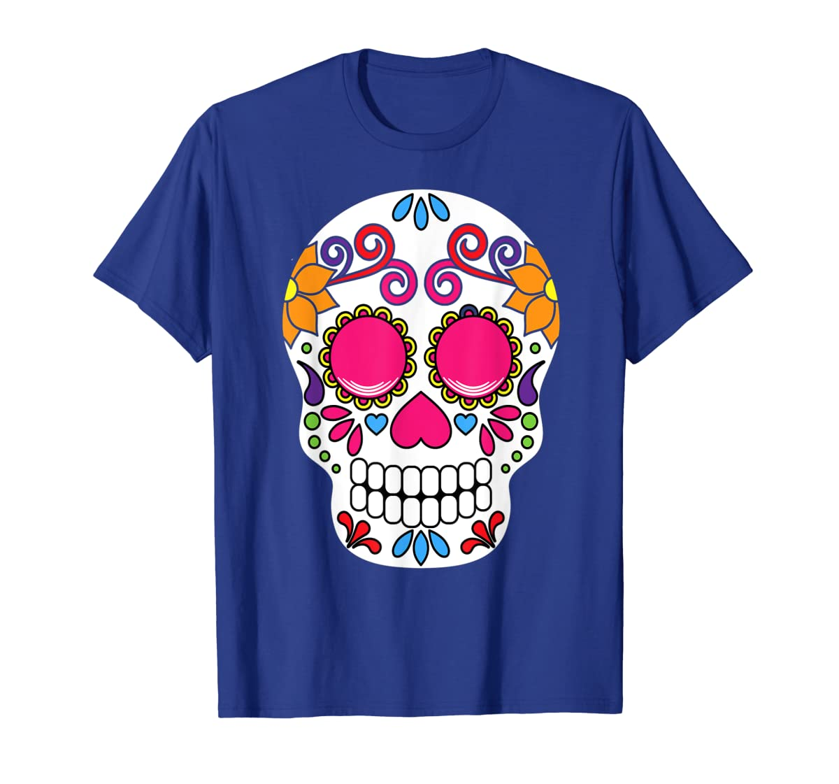 Colorful Day Of The Dead Sugar Skull Halloween T-shirt-Men's T-Shirt-Royal