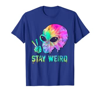 5a88a51e Image Unavailable. Image not available for. Color: Tie Dye Alien Peace Stay  Weird Graphic T-Shirt