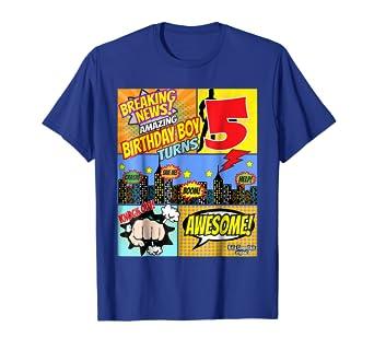 Amazon Birthday Boys Shirt Age 5 Superhero Comic Book Theme Party Clothing