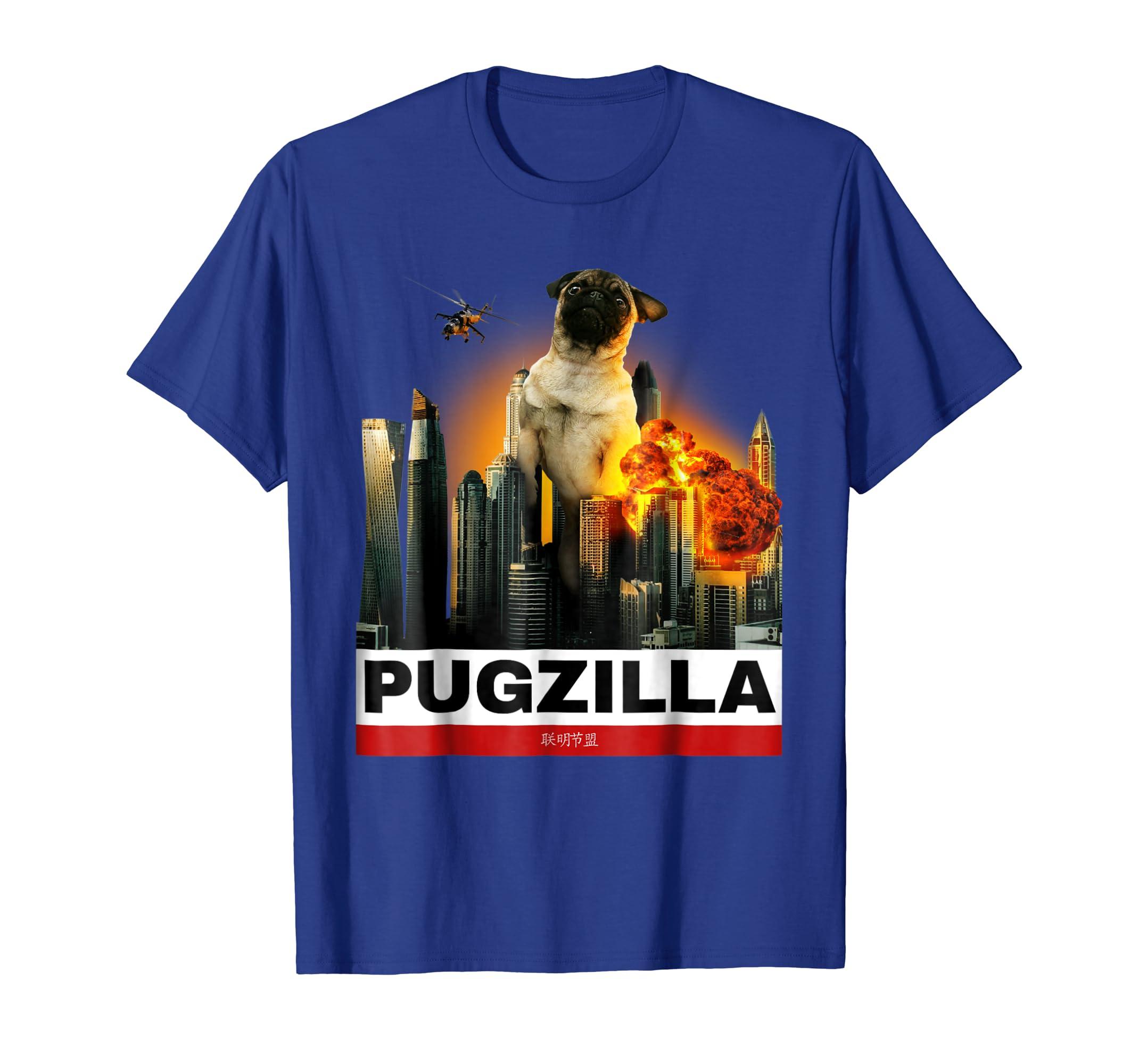 7e2cc149 Amazon.com: PUGZILLA - Funny Pug Tshirt for Dog lovers to Halloween:  Clothing