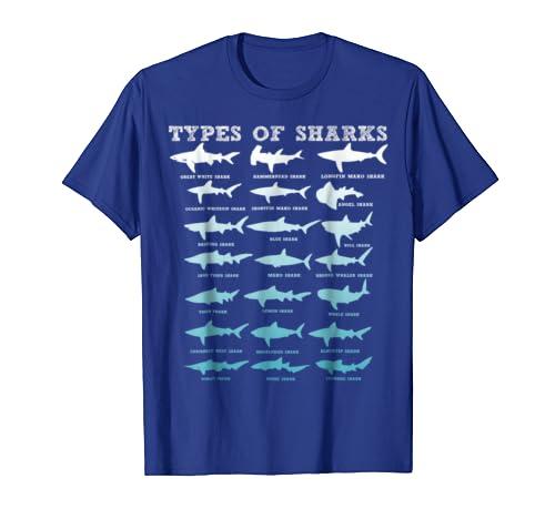21 Types of Sharks Marine Biology T-Shirt-Awarplus