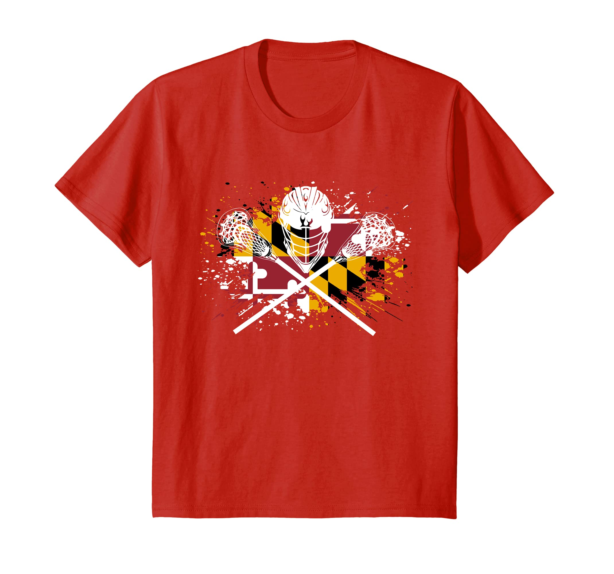 Boys Lacrosse Shirt Sticks Crossed Helmet LAX Maryland Flag-Teesml