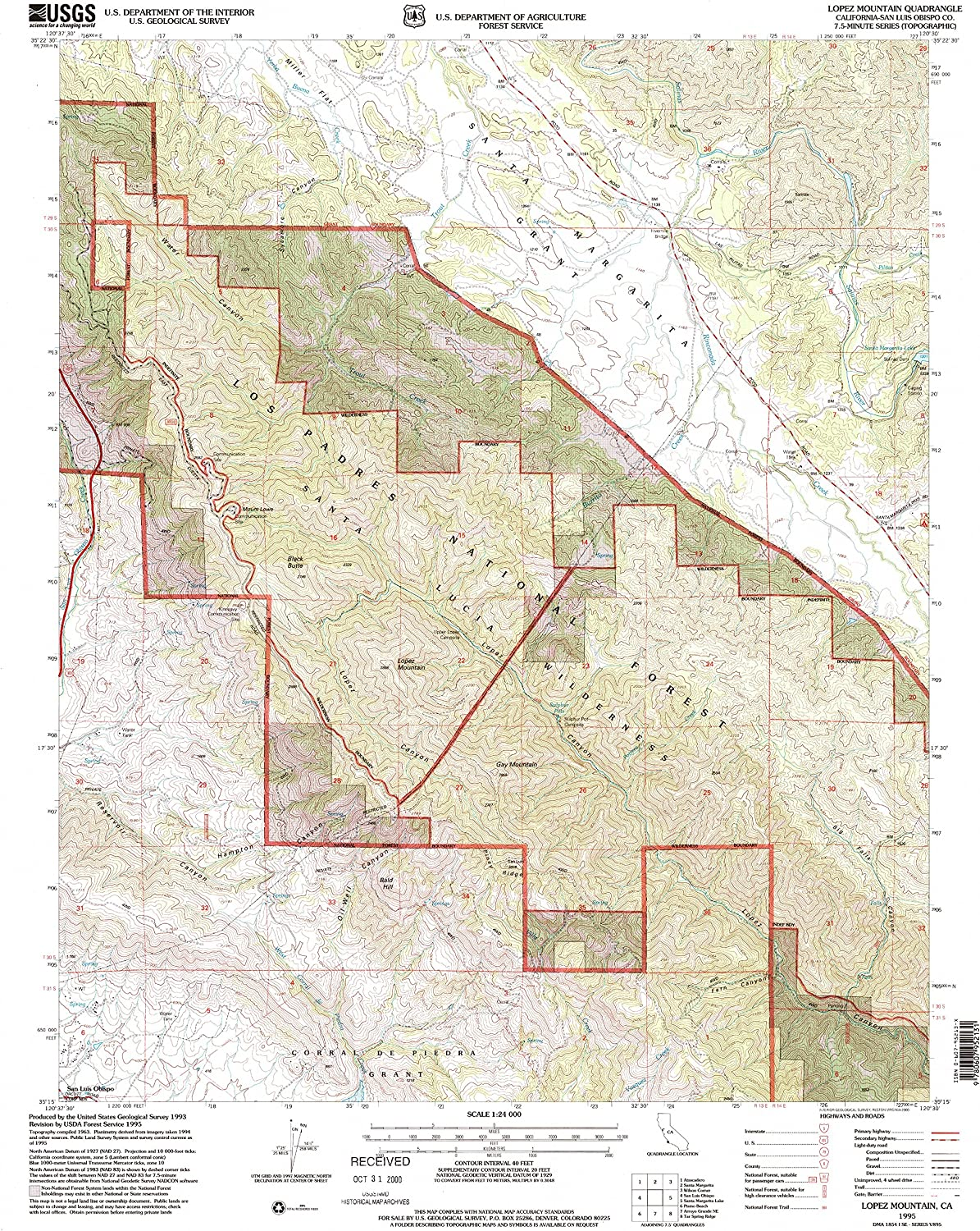 Lopez Mountain CA topo map, 1 24000 Scale, 7.5 X 7.5 Minute, Historical, 1995, Updated 2000, 26.6 x 22 in