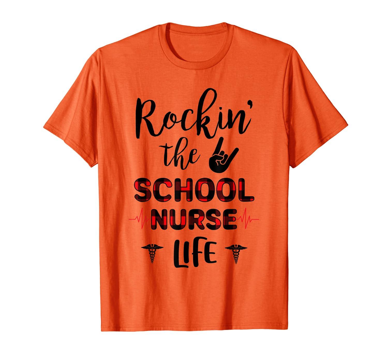Red Plaid Rockin' The School nurse Life Nurse Gift T-Shirt-Colonhue