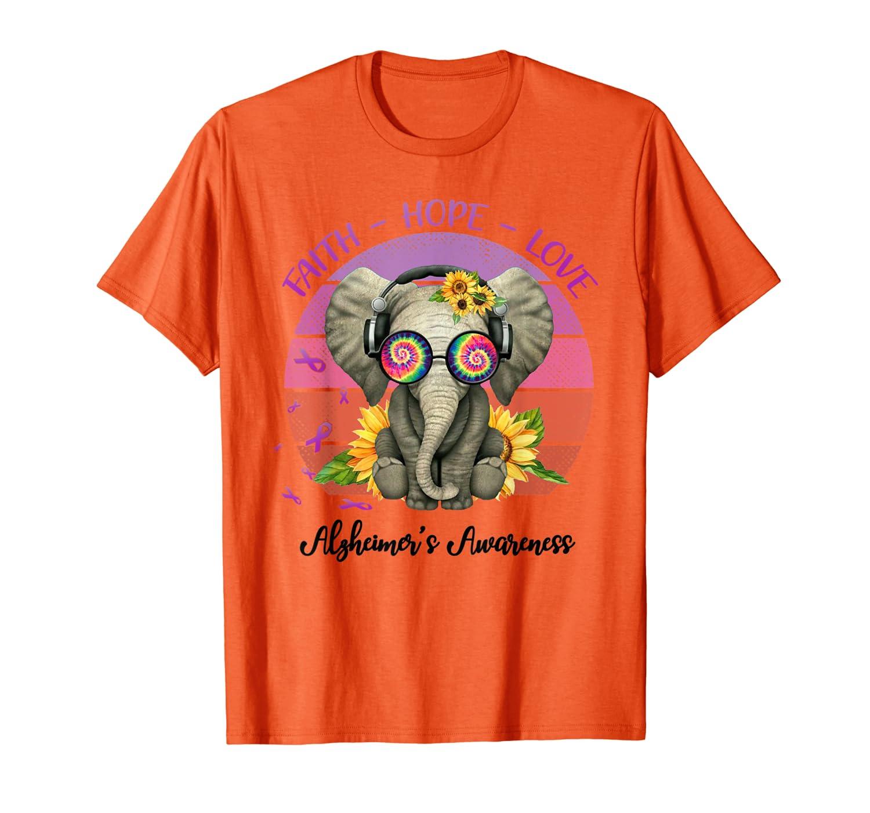 Faith Hope Love Sunflower Elephant Alzheimer's Awareness T-Shirt