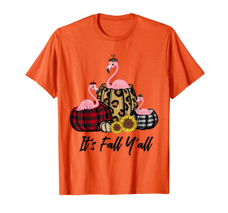 Flamingo In Leopard Pumpkin Kids Autumn Thanksgiving T-Shirt