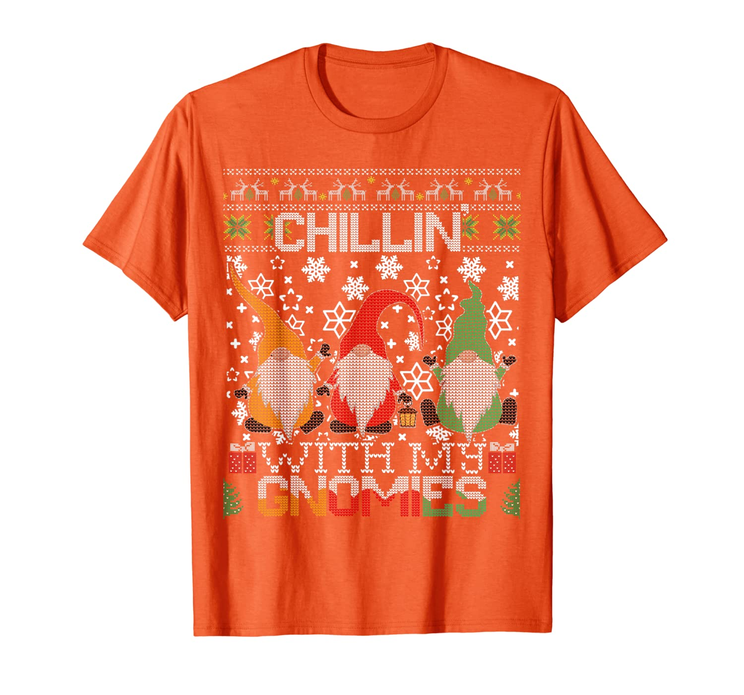 Chillin With My Gnomies Ugly Gnome Christmas Sweater Gift T-Shirt-TH